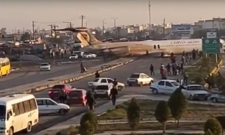 avion Iran nesreca video screen
