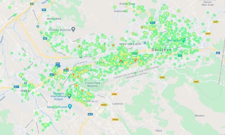 mapa covid19 sarajevo oktobar20 prtscr